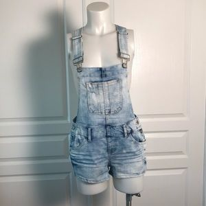 BLUE SPICE DENIM OVERALL SHORTS
